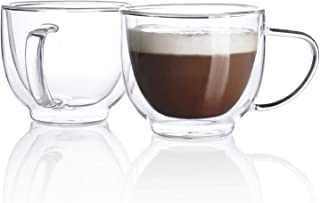 Sweese 419.101 Glass Cappuccino Cups - 7 Ounce Double Walled Coffee Glasses for Specialty Coffee Drinks, Latte, Cafe Mocha...