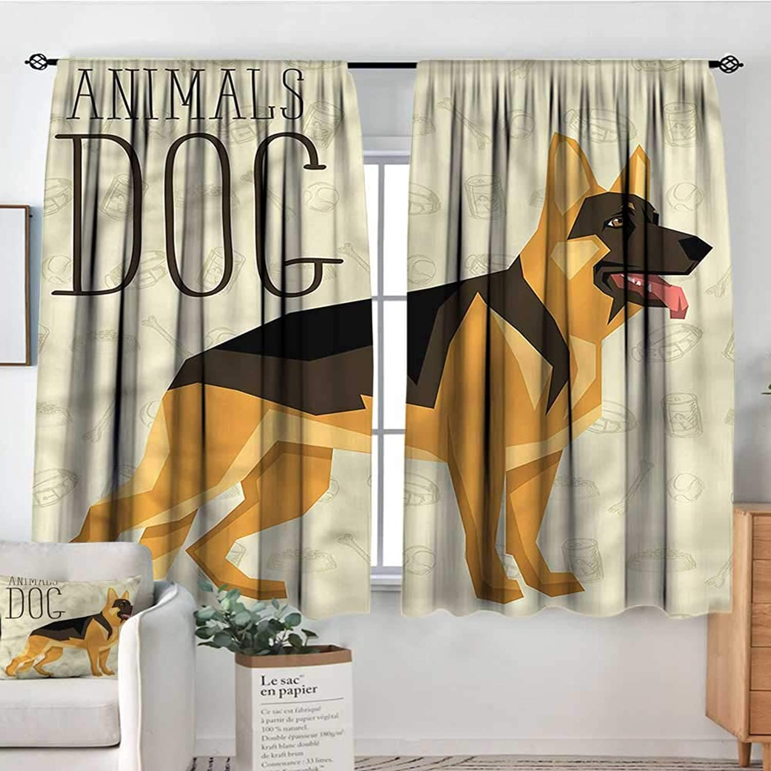Sanring German Shepherd,Rod Pocket Indo Curtain Geometric Animal 42 X63  Curtains for Kids' Room