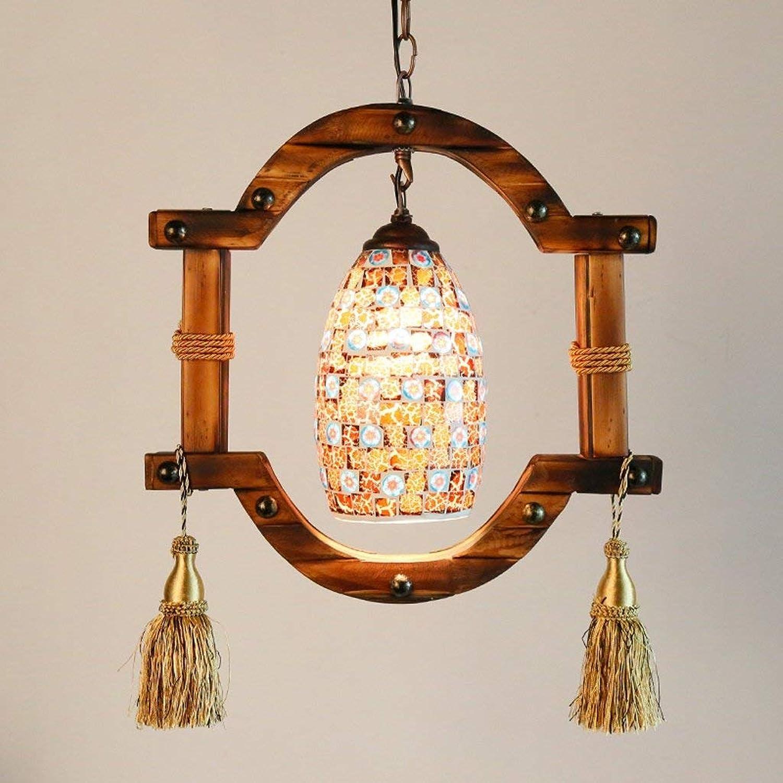 WEI Kronleuchter Mediterrane Farbe Glas Kronleuchter Kreative Bambus Licht Restaurant Bar Counteruvous Holz Kronleuchter