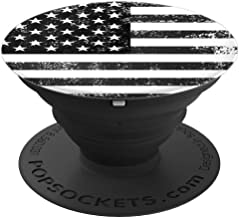 [Black Design] Vintage USA American Flag PopSockets Grip and Stand for Phones and Tablets