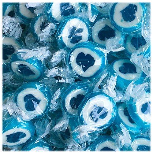 Herzbonbons zu Hochzeit Taufe Kommunion 500g - handgewickelte Rocks-Bonbons mit Herz - Tischdeko Nascherei Gastgeschenk (blau)