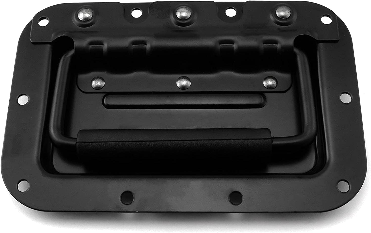 Heyous 1pc 6.3x4.2 inch Black Recessed Spring Loaded Pull Handle for Flight Case Furniture Cabinet Toolbox Chest