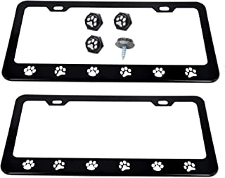 Dog Paws Steel Heavy Duty Black License Plate Frame Car Tag Holder