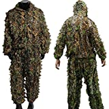 LYGLO Mens 3D Lightweight Hooded Camouflage Ghillie Breathable Hunting Suit