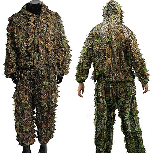EAROOMZE Mens 3D Lightweight Hooded Camouflage Ghillie Breathable Hunting Suit