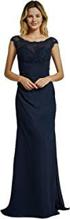 Women's Chiffon Simple Bridesmaid Gown A-line Sweetheart Neck Dress for Bridesmaid
