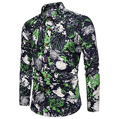 Camisa de Manga Larga con Estampado de Solapa para Hombre, Moda cómoda, Transpirable, Ropa de Calle de Gran tamaño, Camisas Casuales de Ajuste Relajado M
