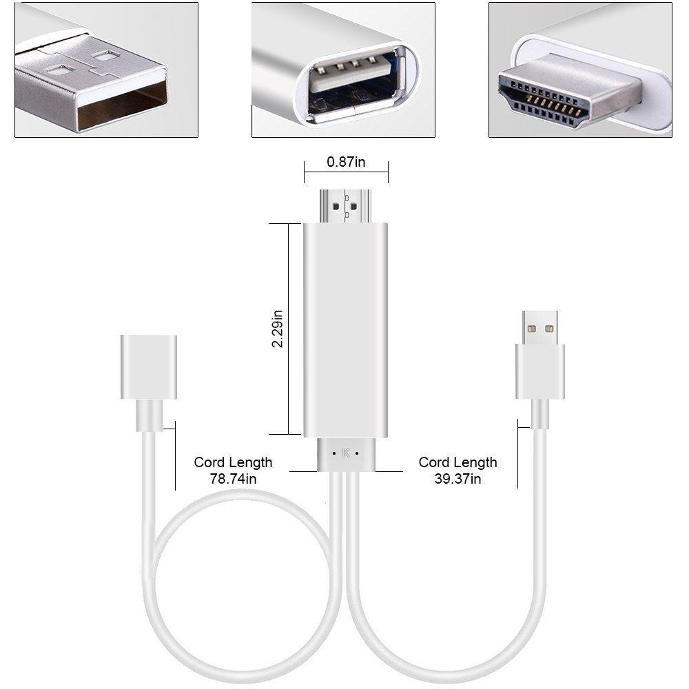Adaptador Smartphone a HDMI, AMANKA 3 in 1 Full HD Mirroring Cable ...