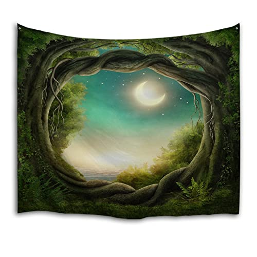 QiYI Home Wall Hanging Nature Art Polyester Fabric Tapestry For Dorm Room,Bedroom,Living Room Decorations229cmx153cm-Fantasy Forest