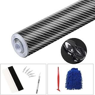 sfesnid Vinilo de Fibra de Carbono 6D + película del Vinilo de los Kits de instalación del aplicador Textura sin Burbujas de Aire Decoración para Vehículos Pegatinas de Bricolaje (300cm*30cm)