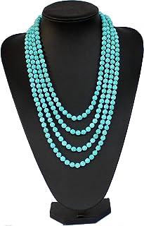 250CM Collana con perline in pietra blu turchese lunga  Collana turchese Collana girocollo con ciondolo