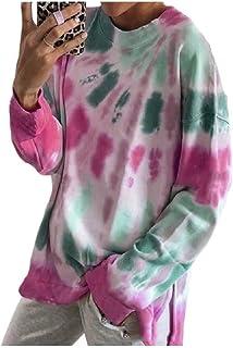 Comaba Women's Sweatshirt Tie Dye Print Casual Loose T Shirts Blouse Top