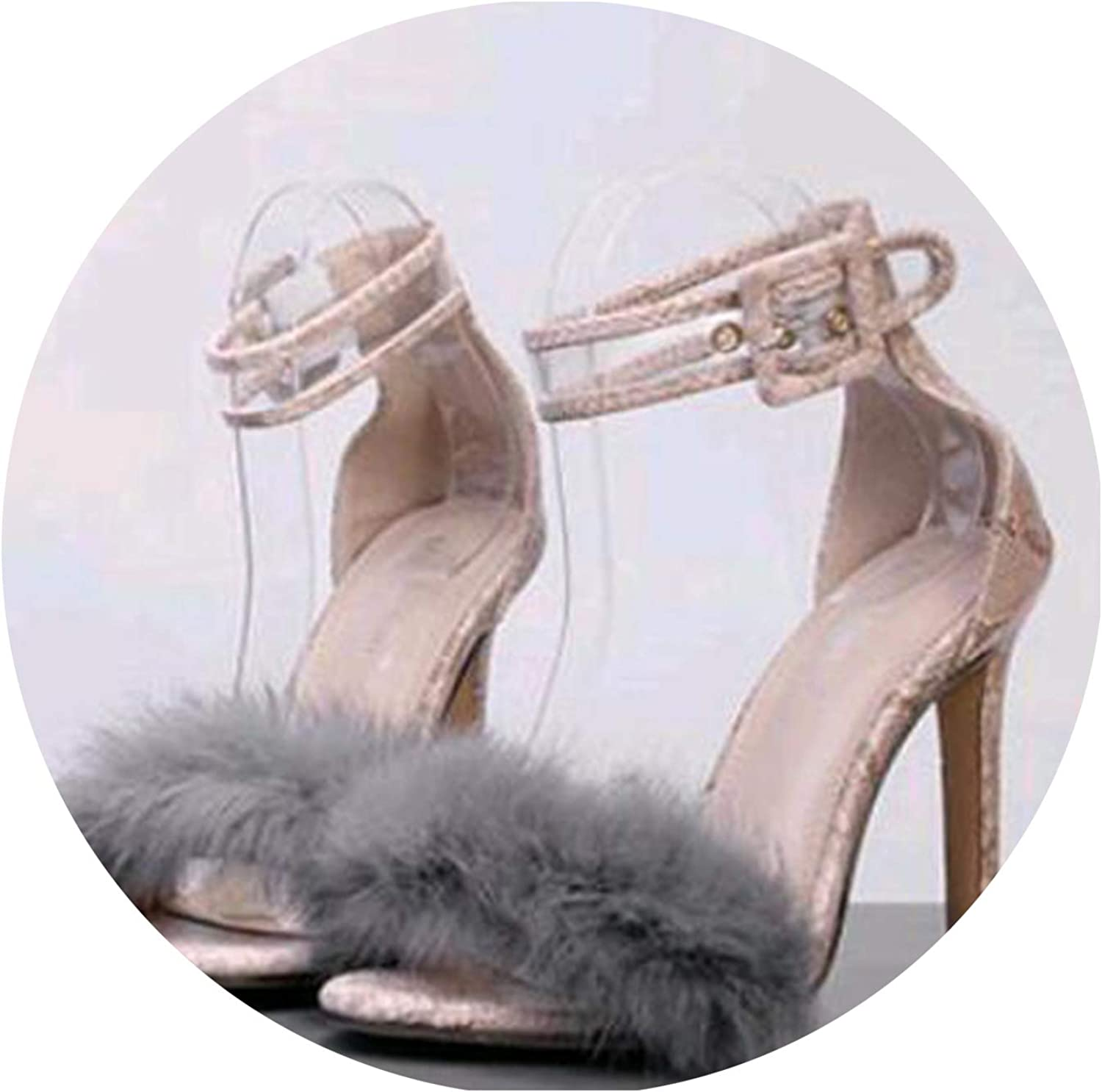 Women Pumps Snake Black High Thin Heels Ankle Strap Faux Fluffy Rabbit Sandal Lady shoes