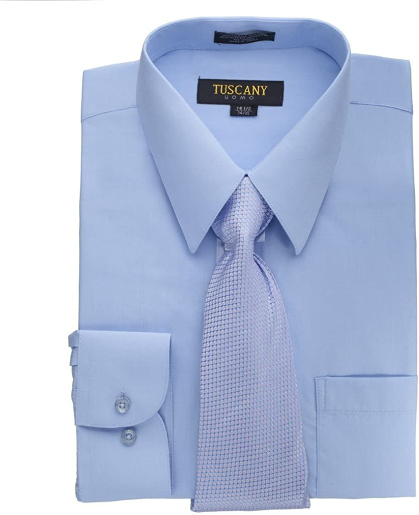 Tuscany Men's Light Blue Regular-fit Solid Long-Sleeved Dress Shirt with Mystery Tie Set 18.5/34-35