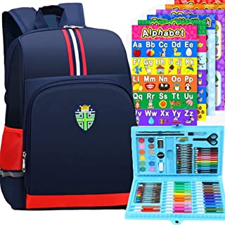 School Bag for Kids with 86 PCS Drawing and Coloring Kit & 9 Educational Posters. 3 IN 1 SET for Boys & Girls. Bag and Art...