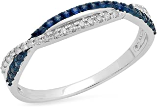 Dazzlingrock Collection 10K Gold Round Blue Sapphire & White Diamond Ladies Wedding Band Ring