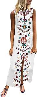 TIANMI Dress for Women,Summer Casual Printed Sleeveless V-Neck Maxi Dress Hem Baggy Kaftan Long Dress