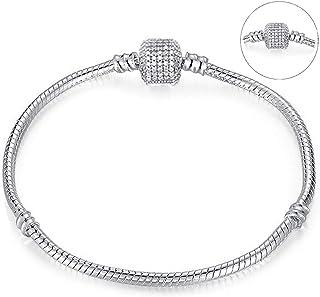 Shallow Time Silver Plated Snake Chain DIY Charm Bracelet & Bangle DIY Fine Bracelet,Sn001,20Cm