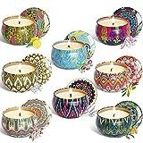 Chutoral 8 piezas velas perfumadas de regalo Conjuntos de cera de soja natural, unidad de 2.5 oz portátil de viaje lata perfecta para mujeres aromaterapia