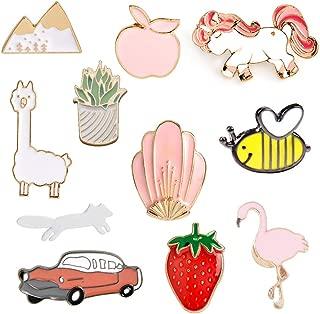 9-50PCS Car Flamingo Alpaca Novelty Cartoon Cute Enamel Brooch Pins for Backpacks Set
