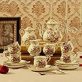 HAIZHEN Vajilla Tazas Taza de café Set Set de té europeo Set de café inglés Copa de cerámica con caja de regalo (15 Piezas) Cerámica