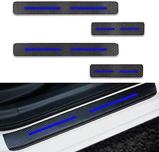 Per A3 A4 A5 A6 A8 S4 S5 S6 Q3 Q5 Q7 Battitacco Soglia Porta Auto,Carbon Fiber Sticker adesivi Styling,Esterno Batticalcagno Prevenire lusura Previene graffi 4Pezzi Blu