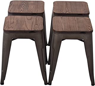 Changjie Furniture 18 Inch Backless Metal Bar Stool Kitchen Counter Bar Stools Set of 4 (18 inch, Bronze with Wood seat)