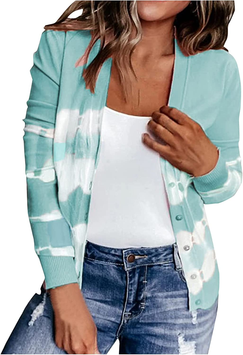 Women's Tie Dye Print Long Sleeve Cardigan Striped Buttons Coat Casual Color Block V-Neck Tops Shirts