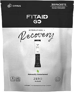 LIFEAID FITAID GO! Zero Sugar Recovery + Hydration Packet, W/BCAAs, Glucosamine, Electrolytes, Omega-3s, 100% Clean, Keto-...