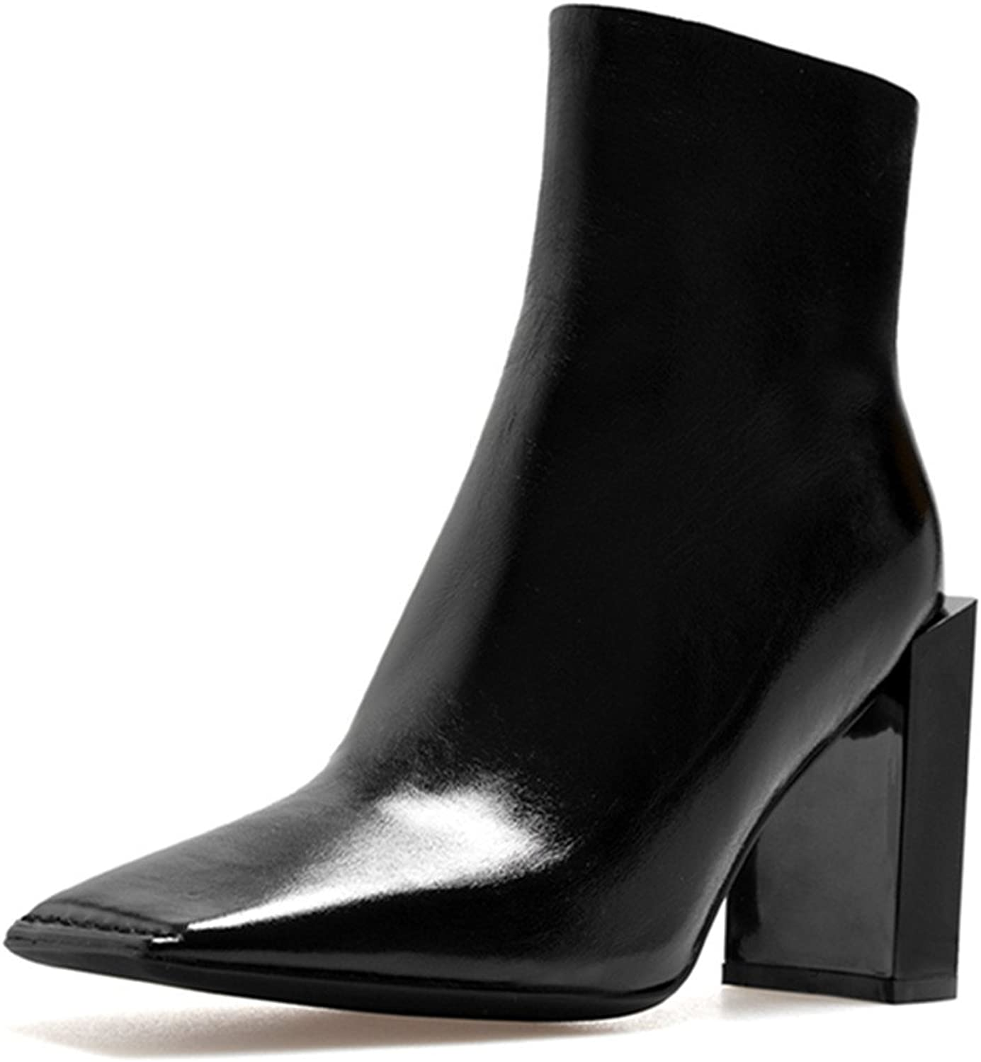 Nine Seven Patent Leather Women's Square Toe Block Heel Classic Comfort Handmade Dressy Ankle Booties