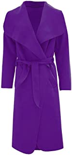 Islander Fashions Womens Italian Long Duster Coat Ladies Long Sleeve French Belted Trench Waterfall Jacket One Size