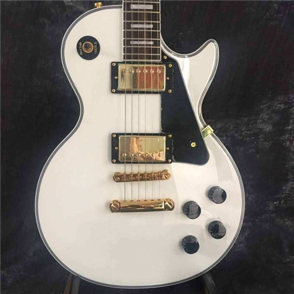 LYNLYN Guitarras Guitarra Y Caja Blanca del Diapase De Palisandro De La Guitarra Eléctrica.Cuerda De Guitarra Acero Acústico Guitarra eléctrica (Color : Guitar, Size : 39 Inches)
