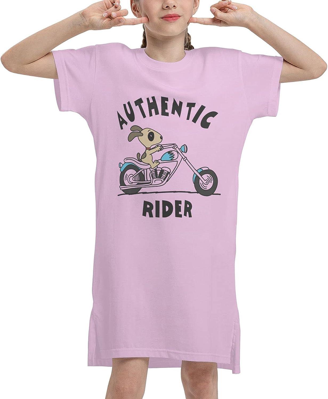 Girls Casual Summer Dress Authentic Rider Dog Short Sleeve T-Shirt Kids White