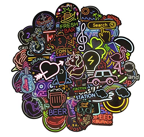 The Original Neon Stickers [50pcs], for Personalize Laptop Car Helmet Skateboard Luggage Bike Bumper Waterproof Logo Vinyl Decals, Best Gift for Kids,Girls,Adult- No-Duplicate Pack