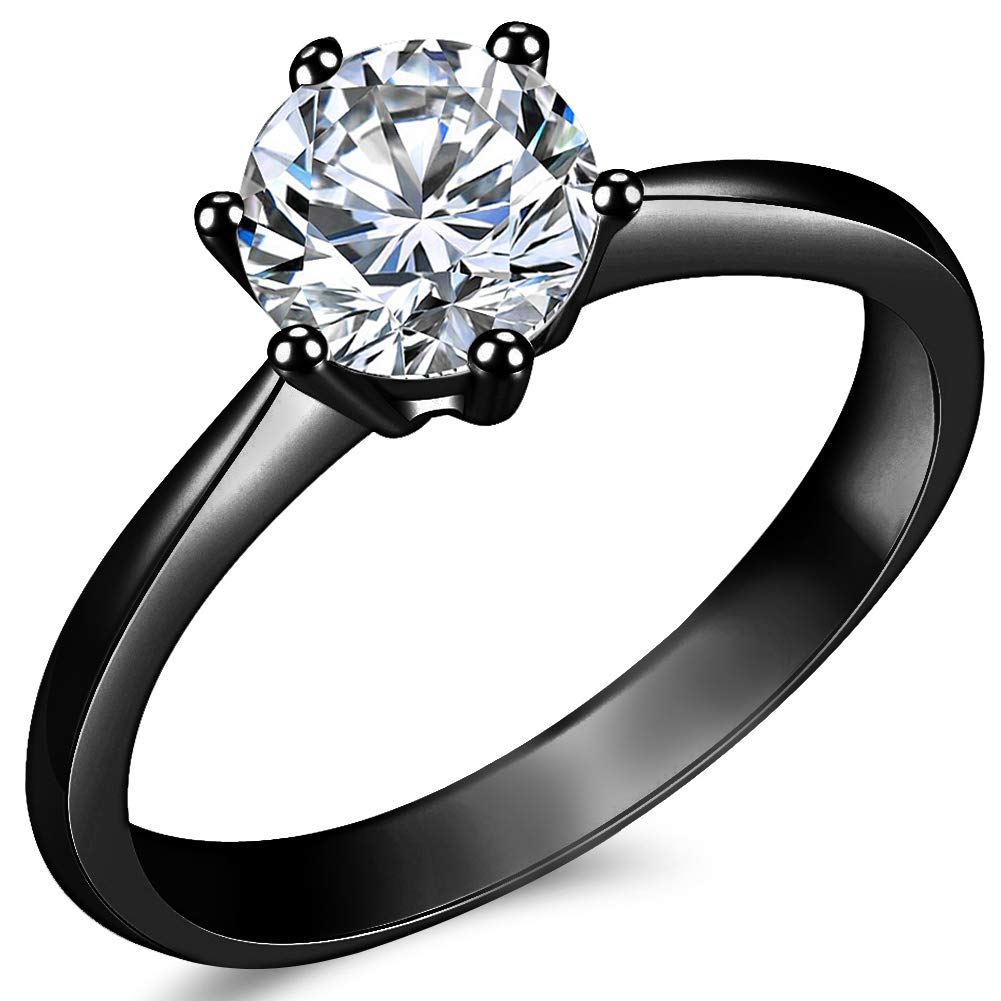 JAJAFOOK 2 PCS Black Gold Plated Princess Blue Cut Cubic Zirconia Wedding Bridal Ring Set