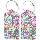 WINCAN Etiquetas para Equipaje,Peace Love and A Dove Flower Power Groovy Psychedelic Notebook Doodles Set,2 Piezas Etiquetas de Equipaje de Viaje Etiquetas de Identificación de la Maleta
