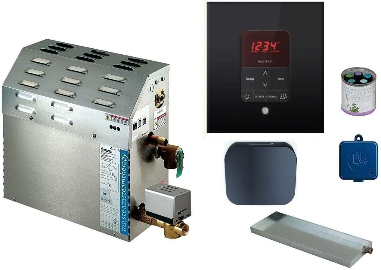 MX4E-20KW Mr Steam MAX Series Steam Bath Generator with Butler Package in Round Polished Chrome Finish
