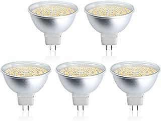 Bonlux 120V MR16 GU5.3 LED Light Bulb 5W (50W Halogen Bulbs Equivalent) GU5.3 Bi-pin Base LED Spotlight Warm White 3000K for Landscape Recessed Accent Track Lighting (5-Pack)