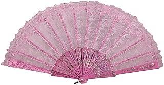 oil-LIKIO Silk Folding Hand Held Flower Fan Best Chinese Style Dance Wedding Party Lace Folding Fan (Pink)