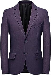 Men Solid Fashion Business Suit Coat, Male Plaid Casual Suit Lapel Slim Fit Stylish Blazer Coat Long Sleeve Two Button Suit Coat