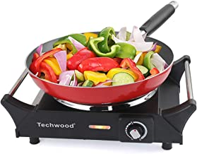 Techwood Hot Plate Electric Single Burner Portable Burner, 1500W with Adjustable Temperature, Stay CoolHandles, Non-Slip Rubber Feet, Black Stainless Steel Easy To Clean, Upgraded Version ES-3103