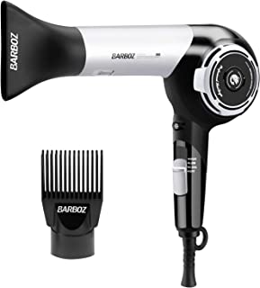 Hair Dryers, BARBOZ Professional Ionic Ceramic Blow Dryer with Comb Concentrator Attachment, Lightweight 1875 Watt Tourmaline Hair Dryer ,Black&Silver