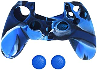 Silicone Game Controller Skin Cover Case and Thumb Stick Cover Grip Cap for PlayStation 4 PS 4