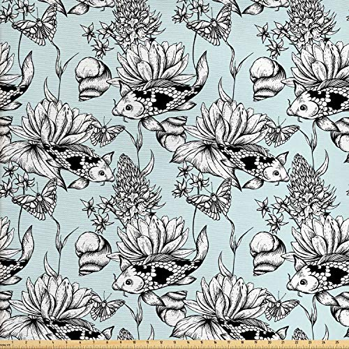 Ambesonne Shabby Flora Fabric by The Yard, Vintage Monochrome Pond Water Flowers Lily Carp Snail Twigs Artwork, Decorative Fabric for Upholstery and Home Accents, 1 Yard, Blue White