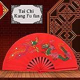 Alomejor Tai Chi Fan de bambú, Chinese Taichi Martial Kung Fu Fighting Fan Tradicional de Seda Abanico Entrenamiento de Rendimiento para la Mano Derecha