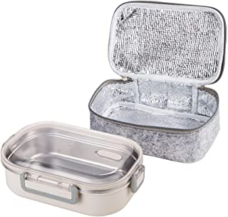 Lille Home 22oz Stainless Steel Leakproof Lunch Box, Insulated Bento Box/Food Container with Insulated Lunch Bag, Durable Handles and Lid, Adults, Men, Women (Gray)