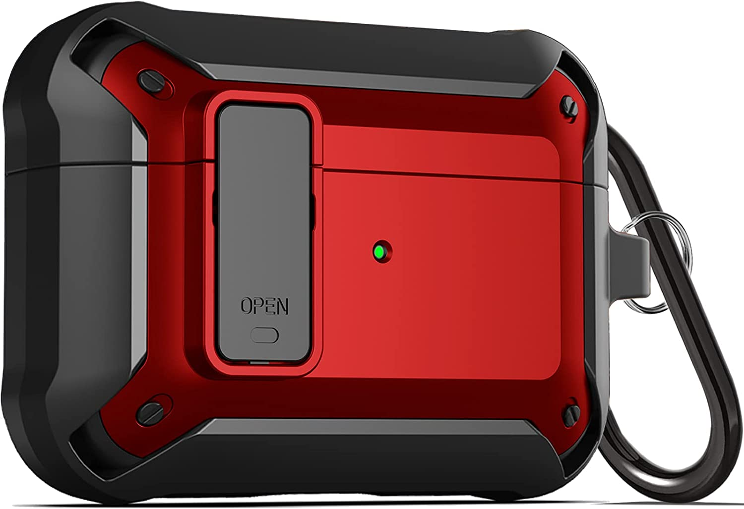 Upgraded [Secure Lock] Armor Airpod Pro Case, Fibuntun Shockproof AirPods Pro Cover Cool iPod Pro Case Designed for Apple Air Pod Wireless Pro Cases for Men Women - Red