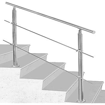 Hengda Pasamanos escalera acero inox 150 * 4.2 * 106.5cm,2 barras,barandilla con kit de instalación,para interiores y exteriores, escaleras, balcón, balaustrada: Amazon.es: Bricolaje y herramientas