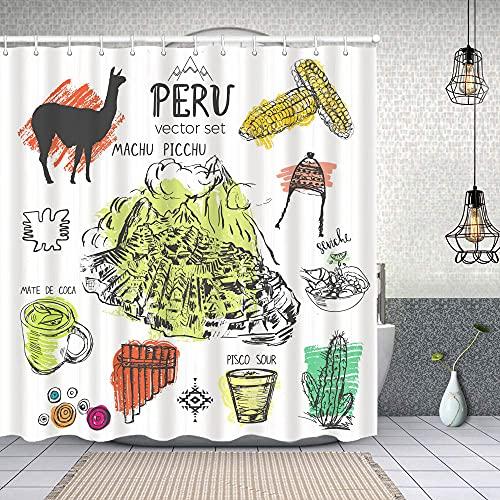 Cortina de Baño con 12 Ganchos,Inca de símbolos Perú Cultura peruana típica con Salpicaduras de Color en el Abstracto,Cortina Ducha Tela Resistente al Agua para baño,bañera 180X180cm