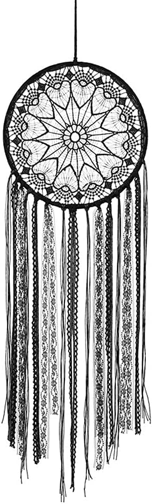 Mangsen Black Boho Dream Catcher Large Handmade Crochet Lace Wall Art Hanging Ornaments Craft for Boys Girls Kids Bedroom Living Room Dorm Decoration
